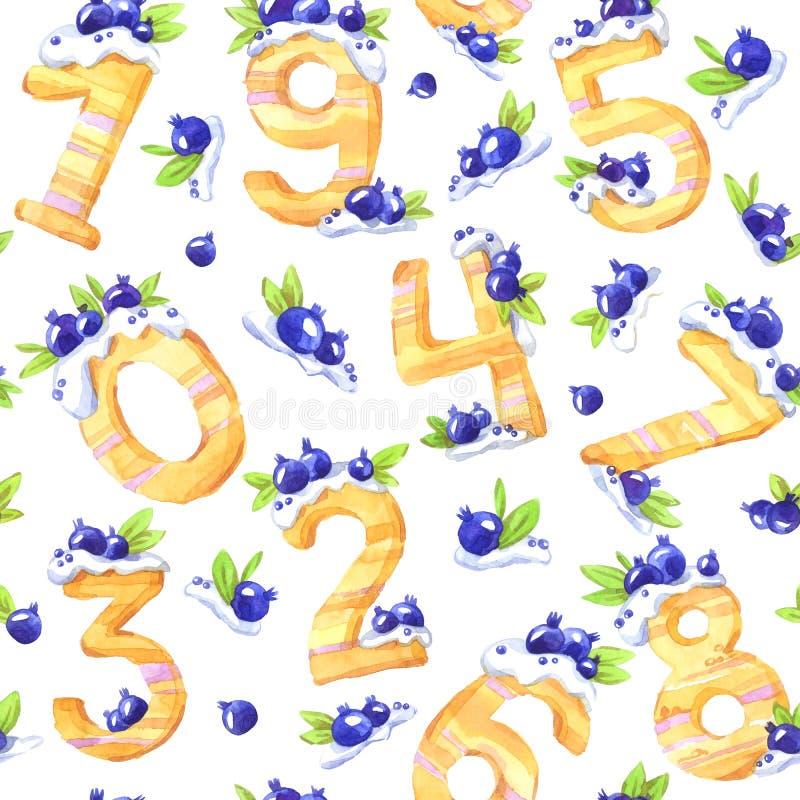 Akwarela bezszwowy wzór z słodkimi matematycznie symbolami i jagodami Dekoracyjne tort liczby od zero dziewięć royalty ilustracja