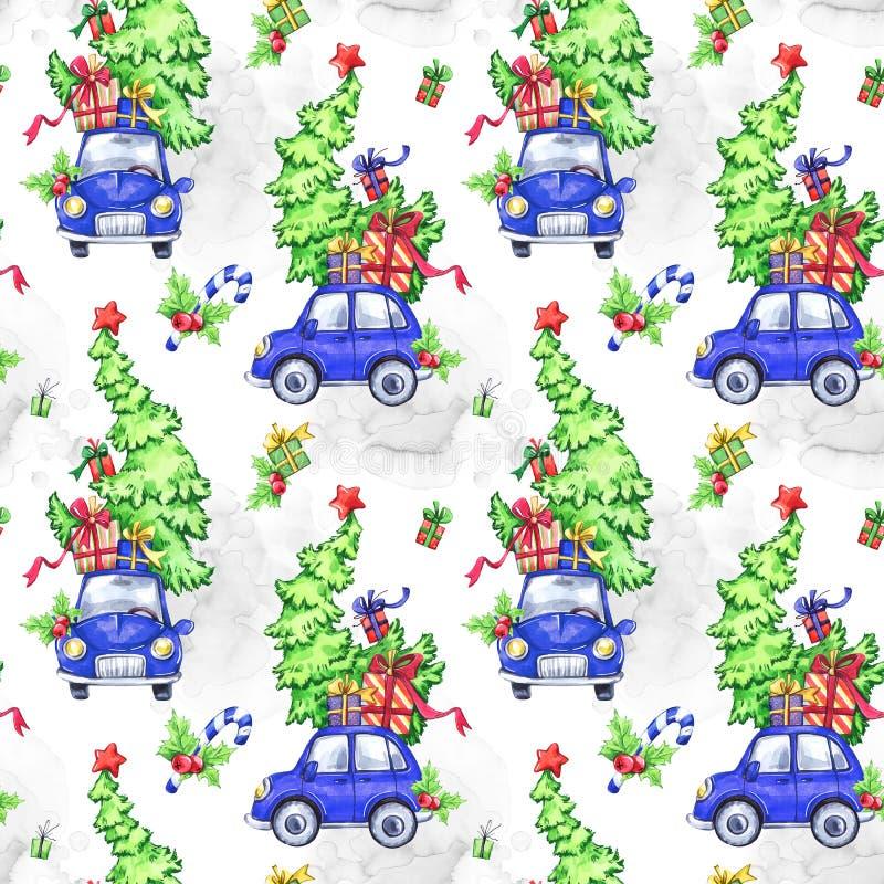 Akwarela bezszwowy wzór z samochodami, drzewami i prezentami kreskówka wakacji, nowy rok, adobe dostępny świętowania kartoteki il ilustracji