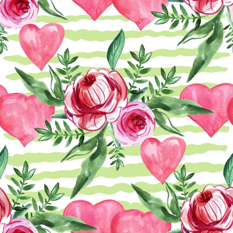 Akwarela bezszwowy wzór z sercami i różami ilustracja wektor