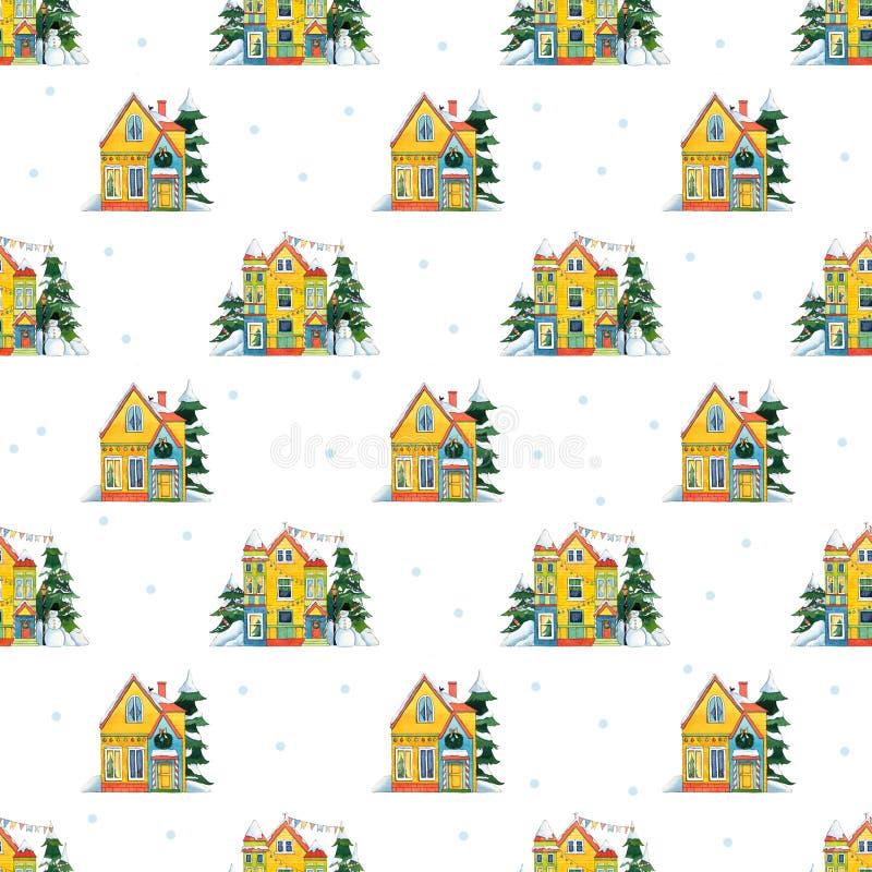 Akwarela bezszwowy wz?r Boże Narodzenie domy z bałwanem, opad śniegu royalty ilustracja