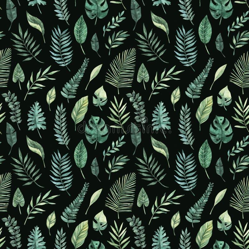 Akwarela bezszwowy wz?r tropikalny t?a lato Tropikalna palma opuszcza monstera, areka, fan, banan Doskonali? dla ilustracja wektor