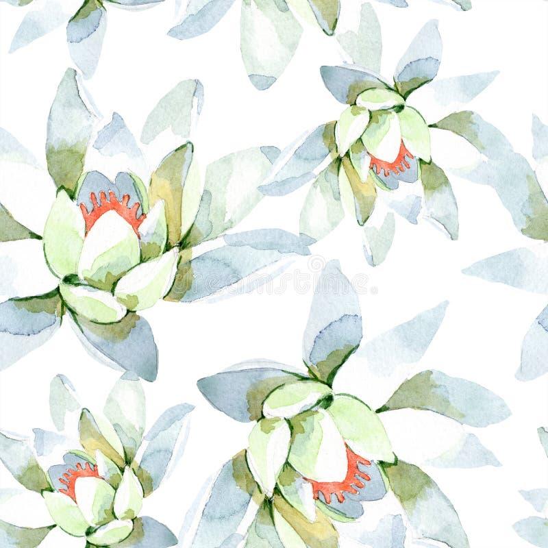 Akwarela biały lotosowy kwiat Kwiecisty botaniczny kwiat Bezszwowy tło wzór ilustracji