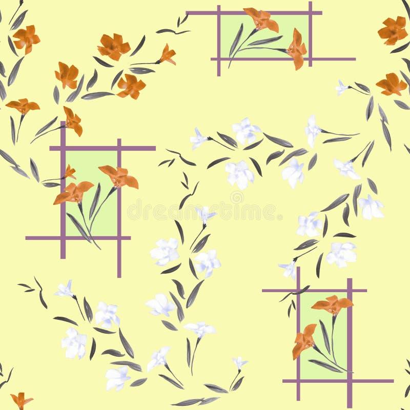Akwarela biali i pomarańcze bezszwowi deseniowi kwiaty royalty ilustracja