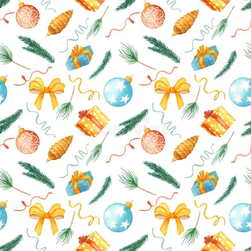 Akwarela Bożenarodzeniowy Bezszwowy wzór Tekstura z jodłą rozgałęzia się, boże narodzenie zabawki, piłki, prezenty, łęk royalty ilustracja