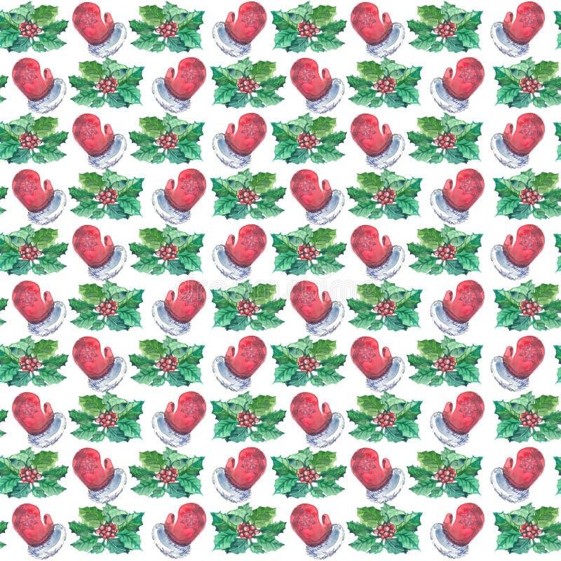 Akwarela Bożenarodzeniowy bezszwowy wzór z czerwonymi mitynkami, jagodami i holly, rozgałęzia się ilustracja wektor