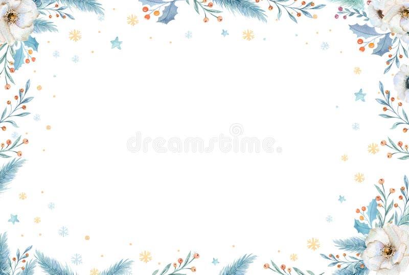 Akwarela Bożenarodzeniowy wianek z jodeł gałąź i literowanie tekstem Nowy rok zaproszenia i ilustracji