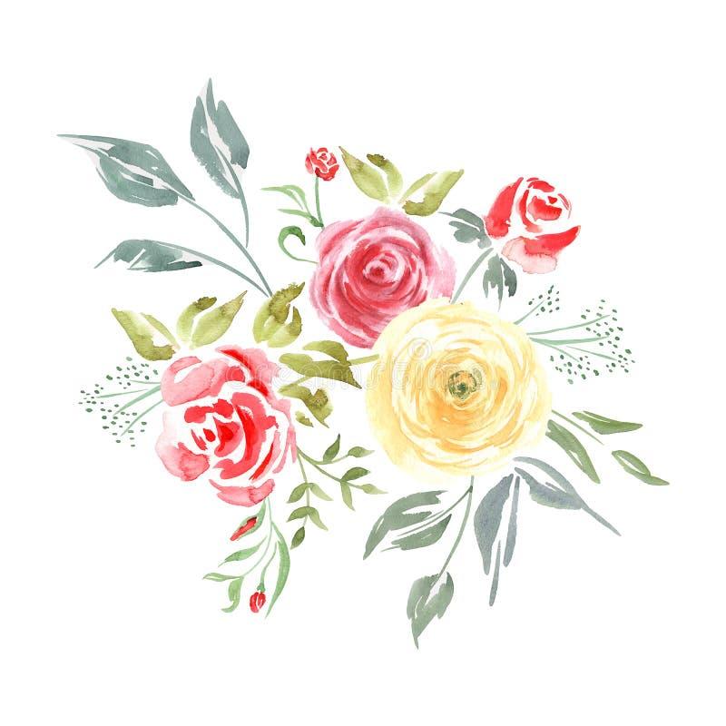 Akwarela bukiet żółte i czerwone róże ilustracji
