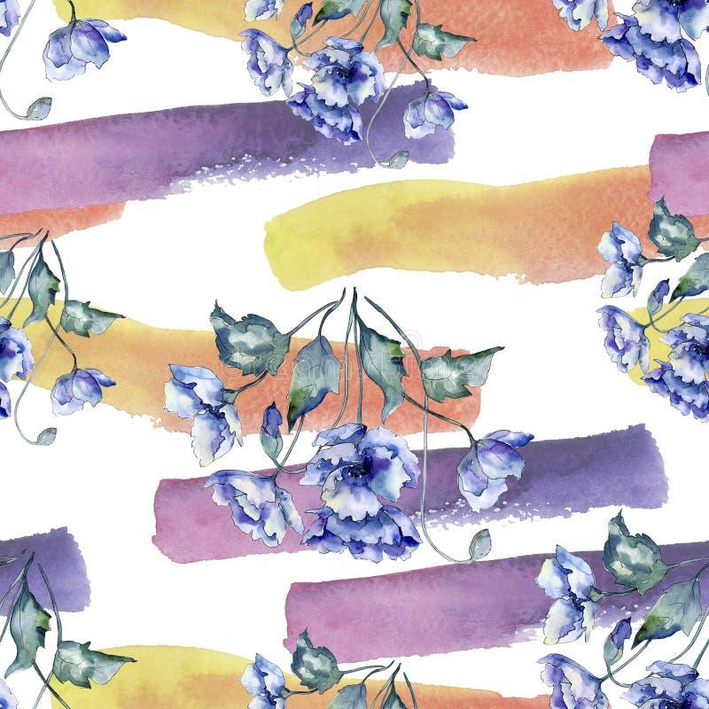 Akwarela bukiet błękitnych maczków kwiaty Kwiecisty botaniczny kwiat Bezszwowy tło wzór royalty ilustracja
