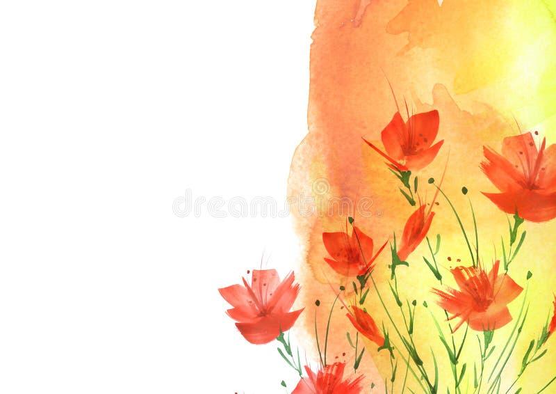 Akwarela bukiet kwiaty, Kwiecisty t?o Jaskrawy czerwony kwiecisty bukiet Pi?kny abstrakcjonistyczny plu?ni?cie farba obrazy royalty free
