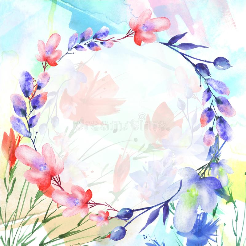 Akwarela bukiet kwiaty, Piękny abstrakcjonistyczny pluśnięcie farba, wierzba, maczek, chamomile ilustracja wektor