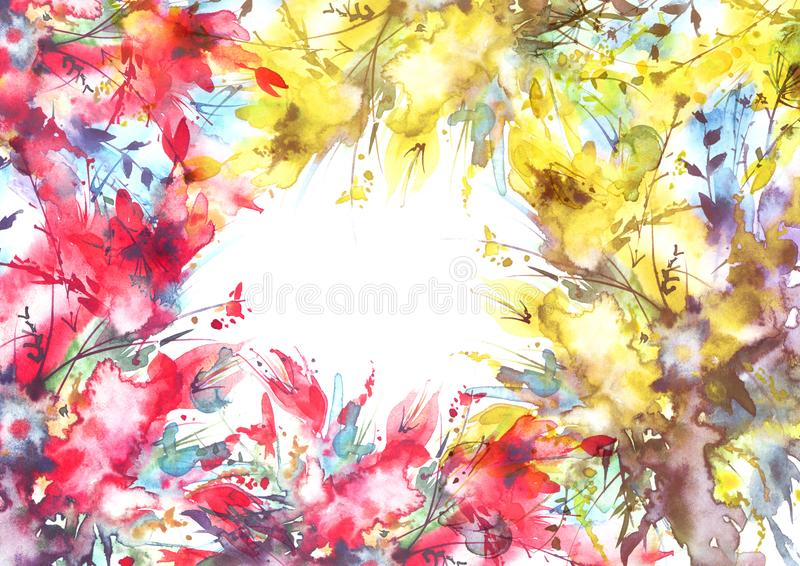 Akwarela bukiet kwiaty, Storczykowi kwiaty, maczek ilustracji