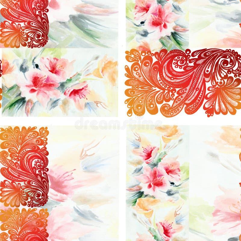 Akwarela bukiet kwitnie z kolorowy openwork Na biały tle bezszwowy wzór ilustracja wektor