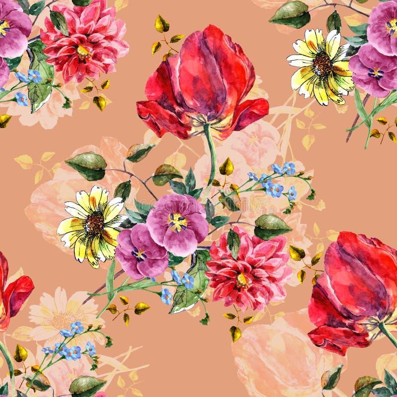 Akwarela bukiet kwitnie z tulipanem Bezszwowy wzór z cieniem na brązowym tle ilustracja wektor
