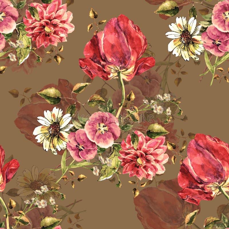 Akwarela bukiet kwitnie z tulipanem Bezszwowy wzór z cieniem na brunatnożółym tle ilustracja wektor