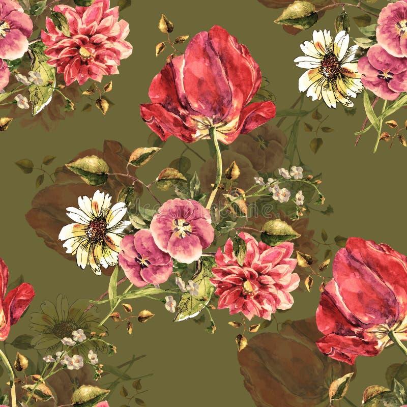 Akwarela bukiet kwitnie z tulipanem Bezszwowy wzór z cieniem na limepeel tle ilustracja wektor