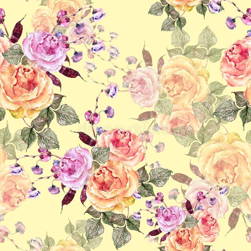 Akwarela bukiet róże na kremowym tle bezszwowy wzoru ilustracja wektor