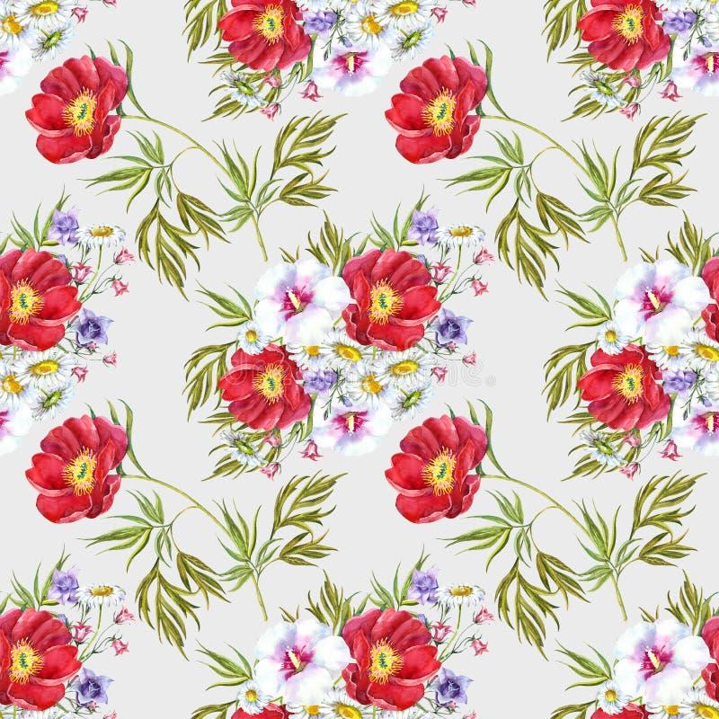 Akwarela bukieta łąki kwiaty Bezszwowy wzór na milky tle royalty ilustracja