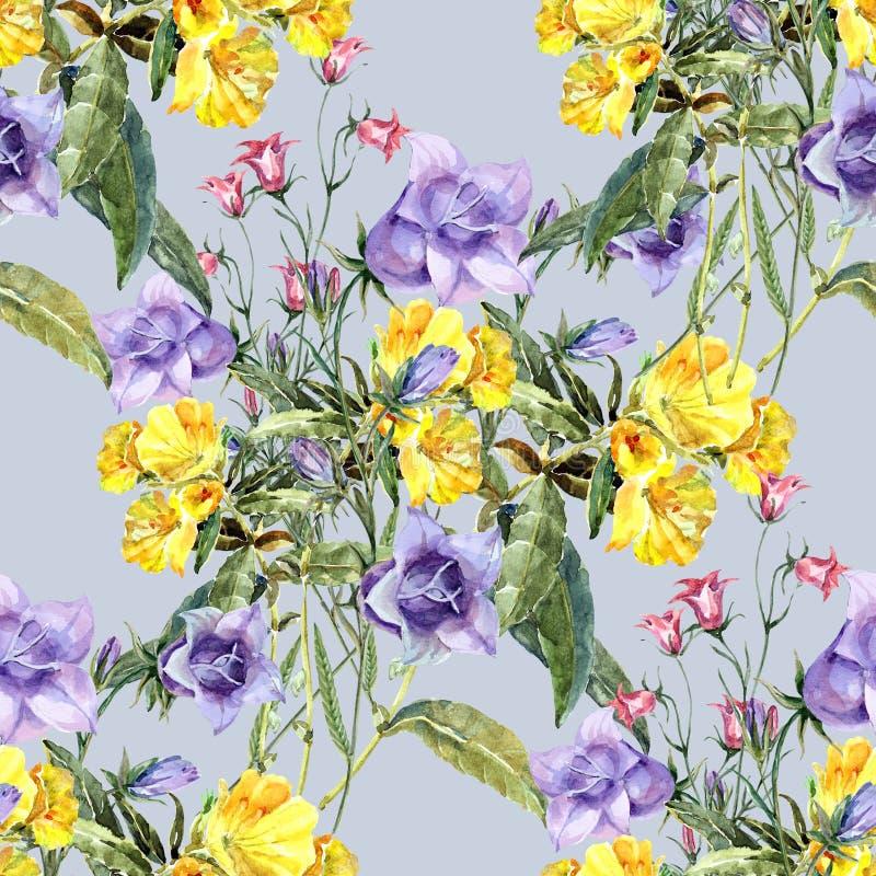 Akwarela bukieta łąki kwiaty Kwiecisty bezszwowy wzór z błękitem i kolorem żółtym kwitnie ilustracji