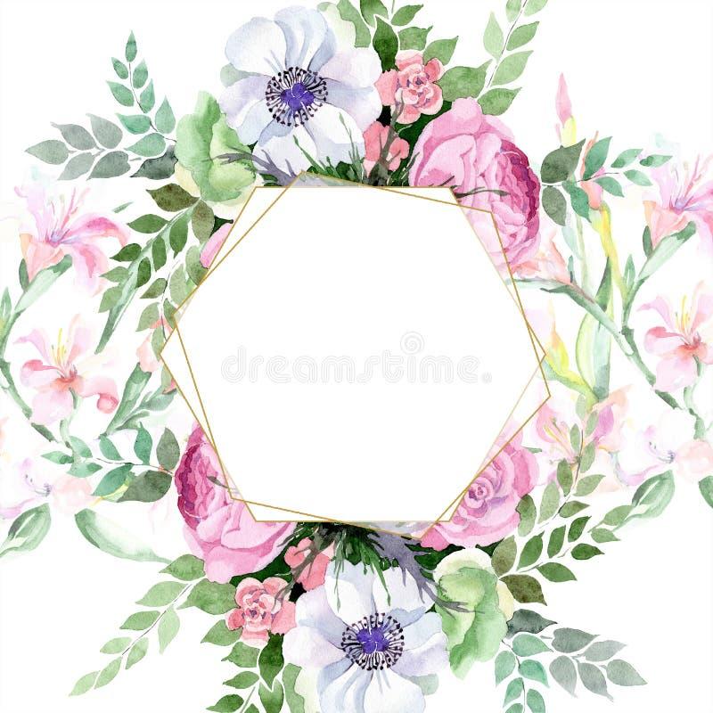 Akwarela bukieta alstroemeria kolorowy kwiat Kwiecisty botaniczny kwiat Bezszwowy tło wzór ilustracji