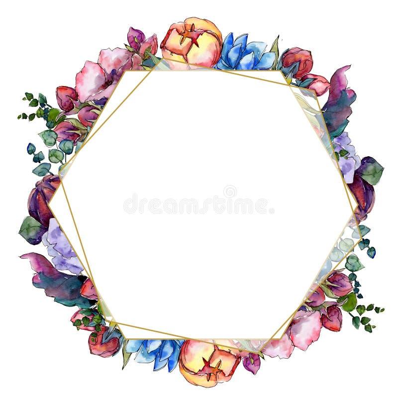 Akwarela bukieta kolorowy kwiat Kwiecisty botaniczny kwiat Ramowy rabatowy ornamentu kwadrat ilustracji
