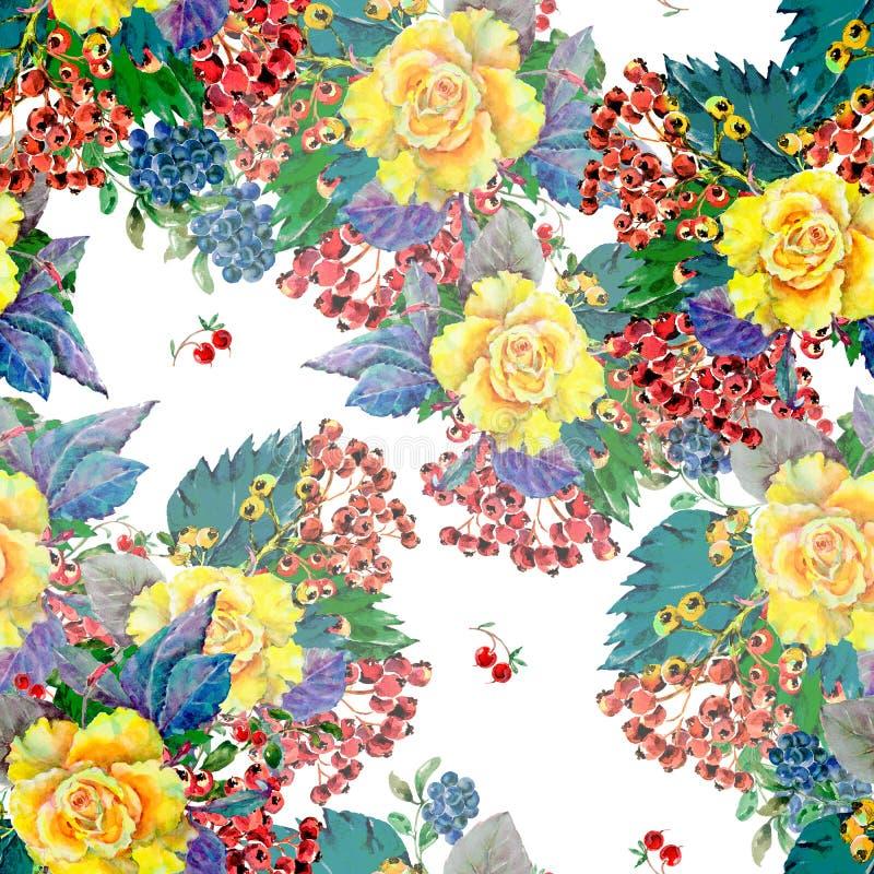 Akwarela bukieta koloru żółtego róża z różną jagodą bezszwowy wzoru royalty ilustracja