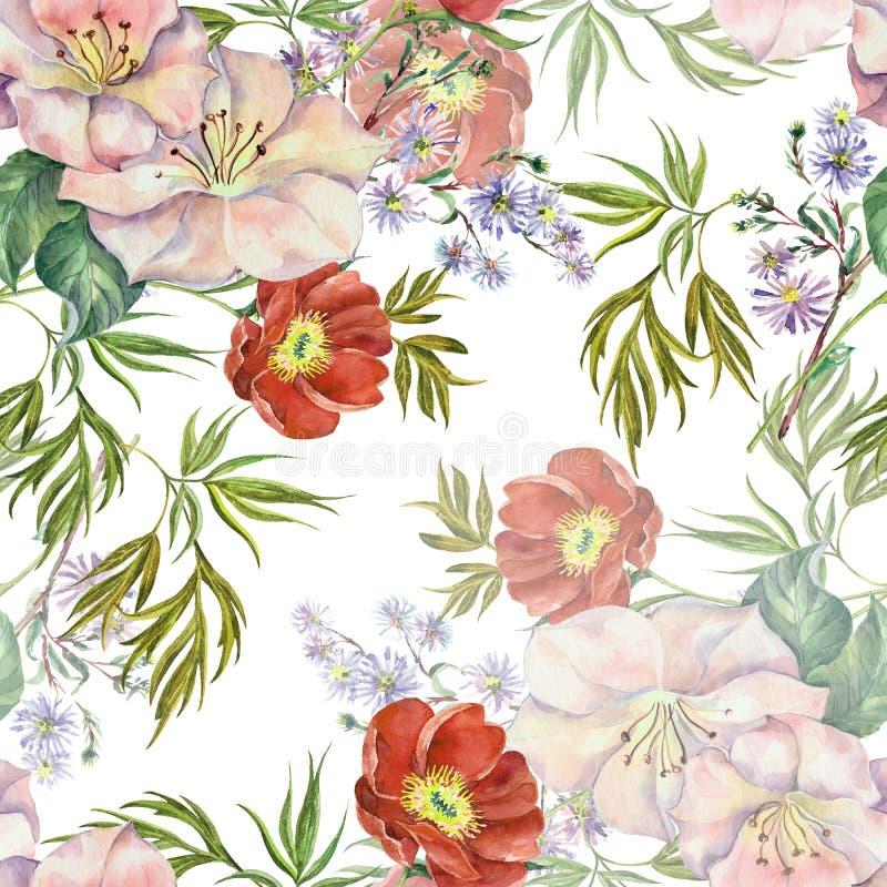 Akwarela bukieta kwiaty Kwiecisty bezszwowy wzór na białym tle ilustracji