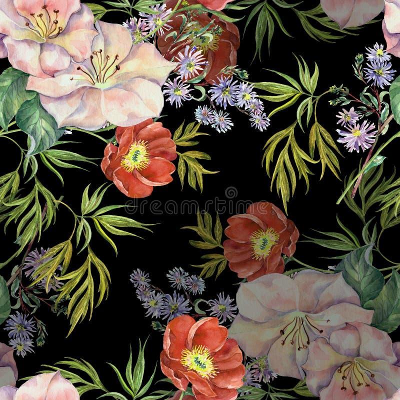 Akwarela bukieta kwiaty Kwiecisty bezszwowy wzór na czarnym tle ilustracja wektor