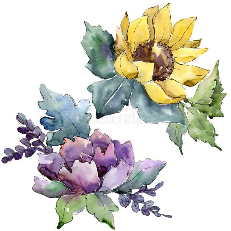 Akwarela bukieta kwiaty Kwiecisty botaniczny kwiat Odosobniony ilustracyjny element ilustracji