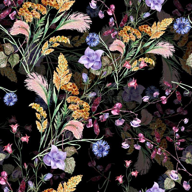 Akwarela bukieta pola kwiaty Bezszwowy wzór na czarnym tle royalty ilustracja