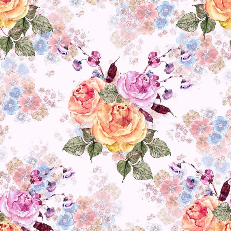 Akwarela bukieta róże bezszwowy kwiecisty wzoru royalty ilustracja