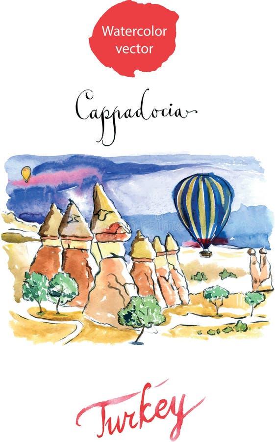 Akwarela Cappadocia ilustracja wektor