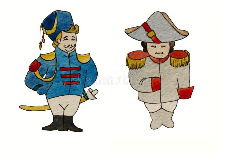 Akwarela charakterów dragon i francuski generał royalty ilustracja
