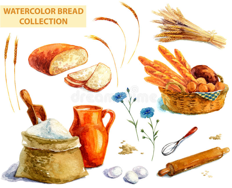 Akwarela chleba kolekcja ilustracja wektor