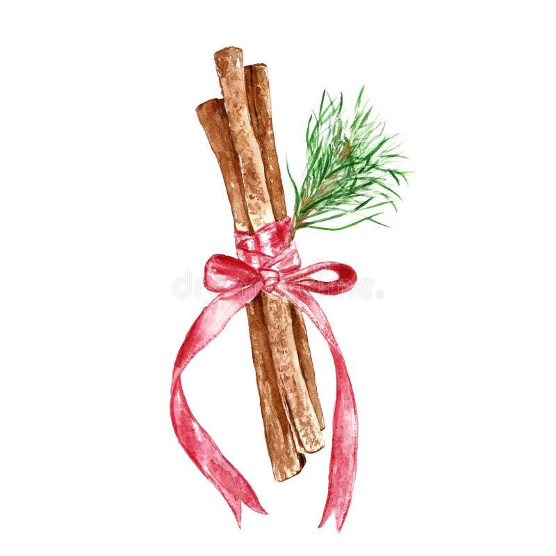 Akwarela cynamonowych kijów ręka rysujący symbol świąteczni zim boże narodzenia, nowy rok i royalty ilustracja