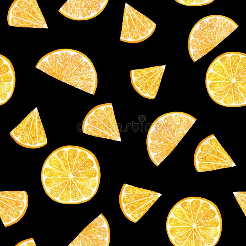 Akwarela cytrusa wzoru pomarańcze, bezszwowy wzór z gałąź, botaniczna naturalna ilustracja na czarnym tle R?ka royalty ilustracja