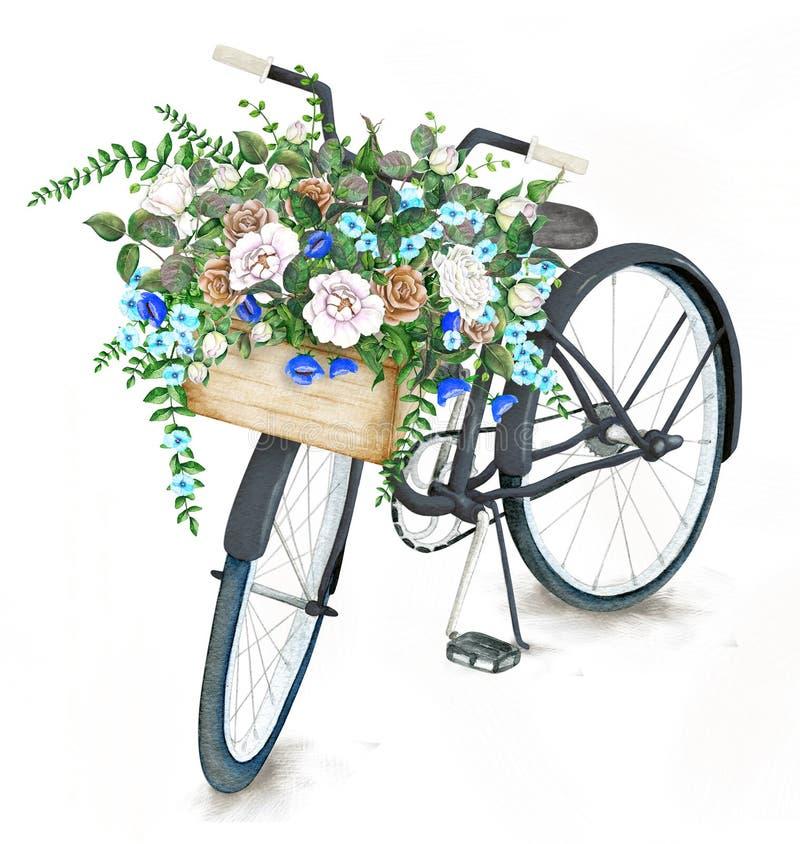 Akwarela czarny bicykl z kwiatu koszem ilustracja wektor