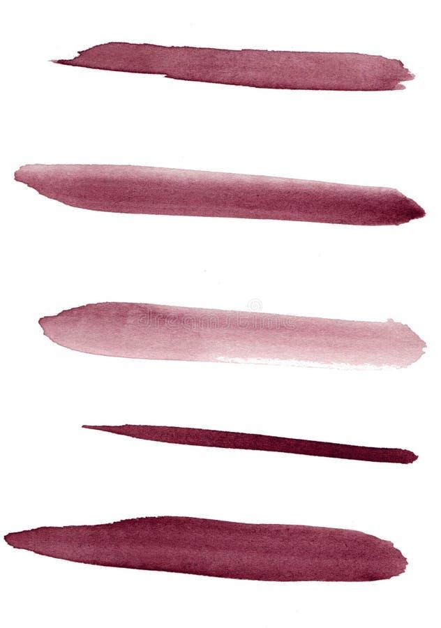 akwarela Czerwony abstrakt malujący marsala atramentu uderzenia ustawiający na akwareli tapetują Odizolowywający na bielu zdjęcia royalty free