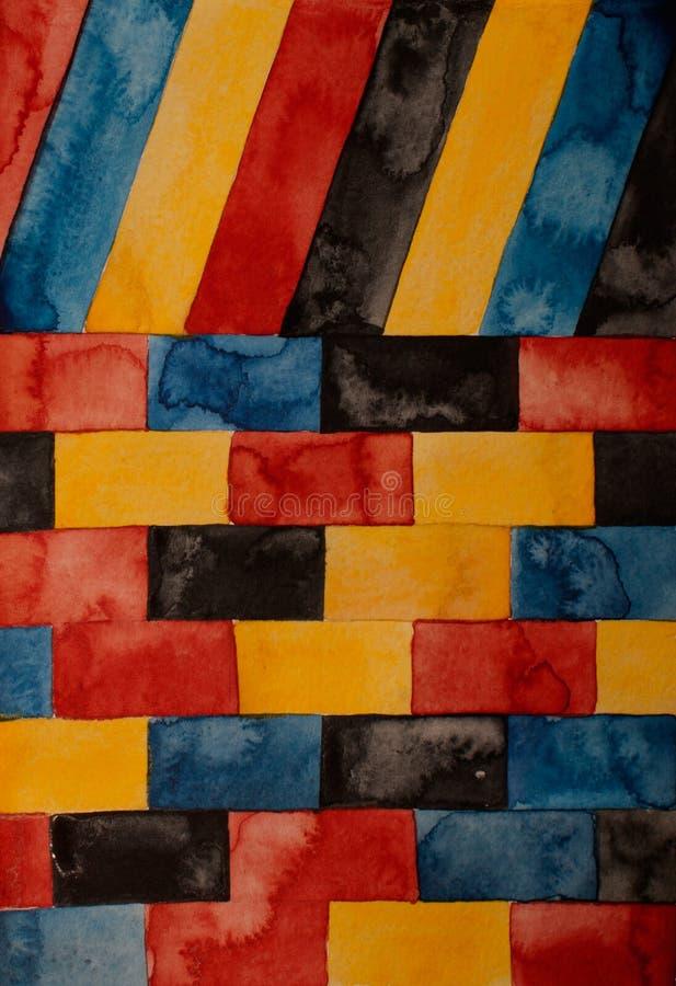 Akwarela dachu i ściany kolorowy noetyczny tło, prostokątny skład Artystyczny geometryczny tło, przeznacza dla białego t royalty ilustracja