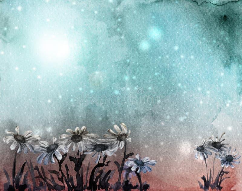 akwarela daisy karty niebieski royalty ilustracja