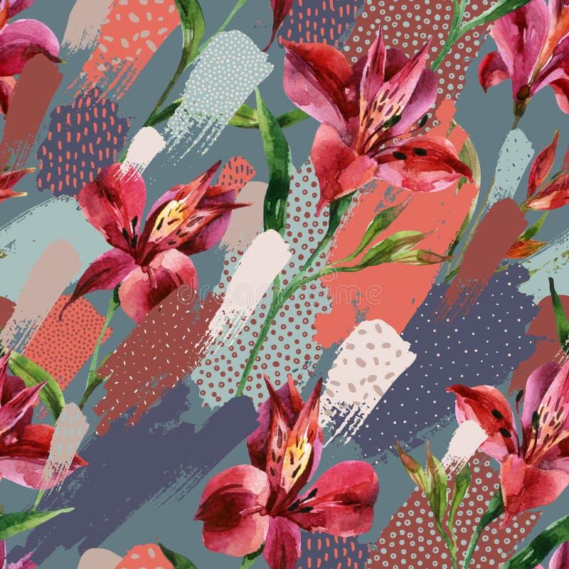 Akwarela dekoracyjnych kwiatów bezszwowy wzór na barwionych splatters z doodles tłem ilustracja wektor