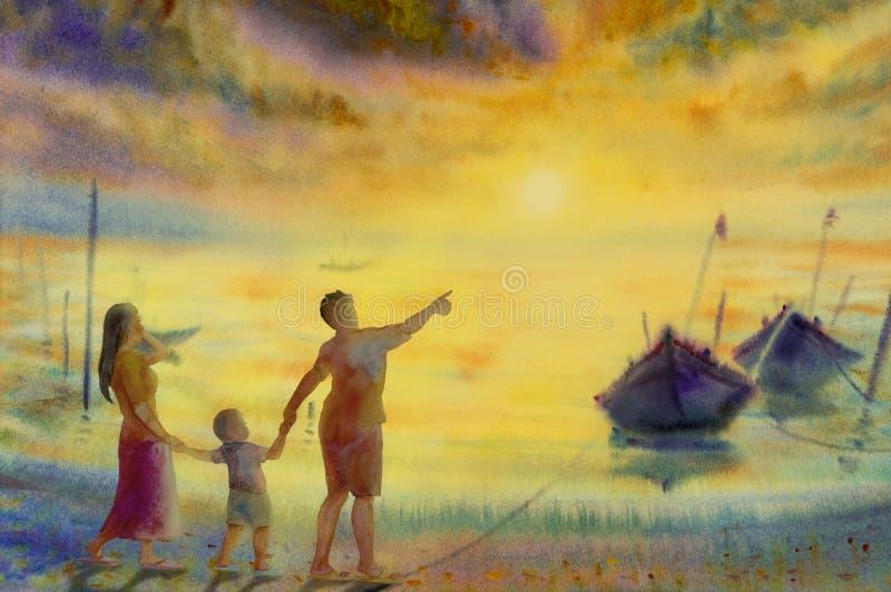 Akwarela denny obraz rodzina, łódź rybacka w słońce wieczór royalty ilustracja