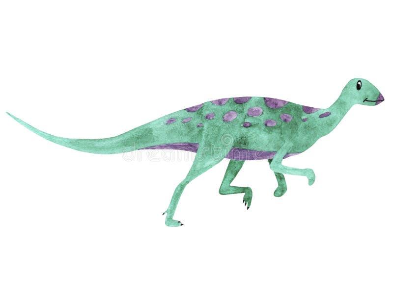 Akwarela dinosaur Ilustracyjny Qantassaurus dla dzieciak ilustracja wektor