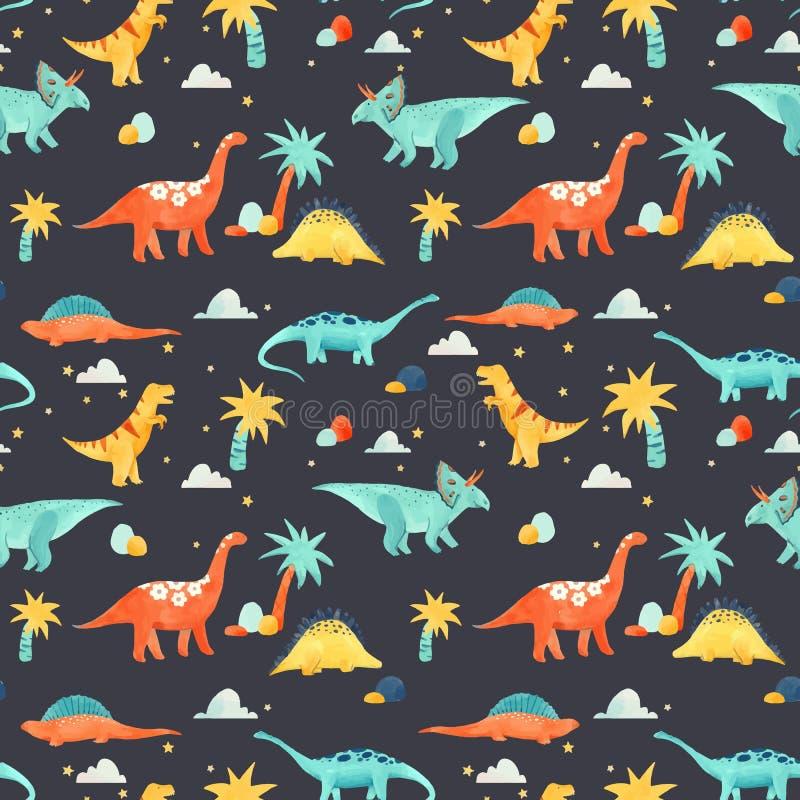 Akwarela dinosaura dziecka wektoru wzór ilustracja wektor