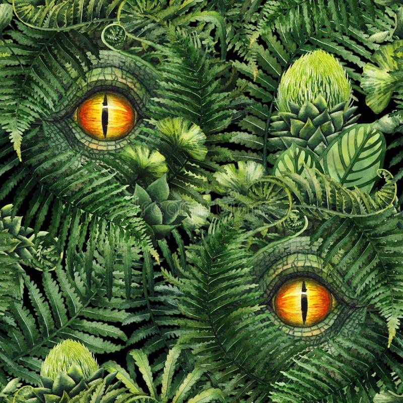 Akwarela dinosaura oko i prehistoryczne rośliny royalty ilustracja