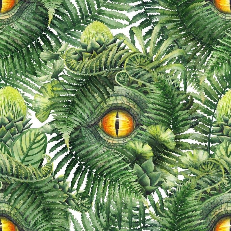 Akwarela dinosaura oko i prehistoryczne rośliny ilustracji