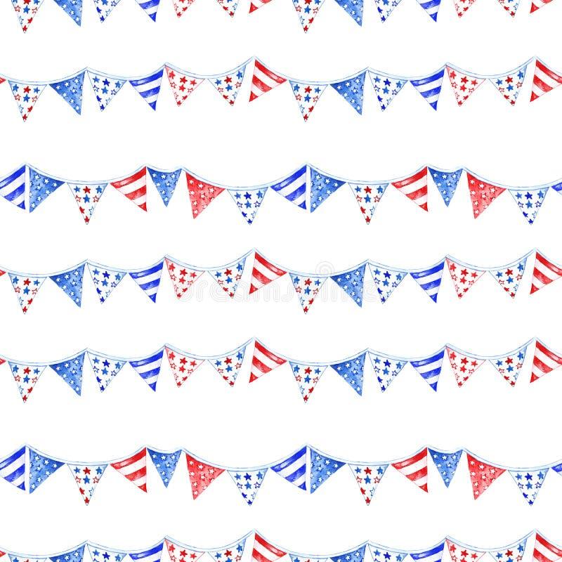 Akwarela dnia pamięci bezszwowy wzór z pasiastymi flagami na białym tle, odosobnionymi Tradycyjni kolory my chorągwiani ilustracji