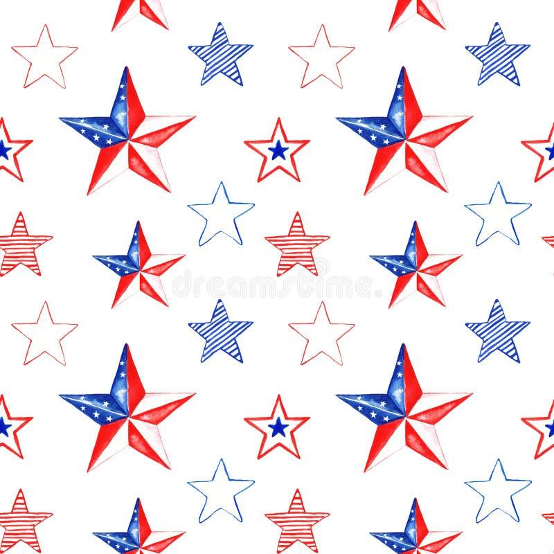 Akwarela dnia pamięci bezszwowy wzór z ręką malował czerwieni, białych i błękitnych gwiazdy, Świąteczny 4th Lipiec powtórki tło ilustracji