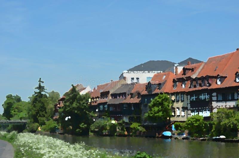 Akwarela domy i łodzie wzdłuż rzeki royalty ilustracja
