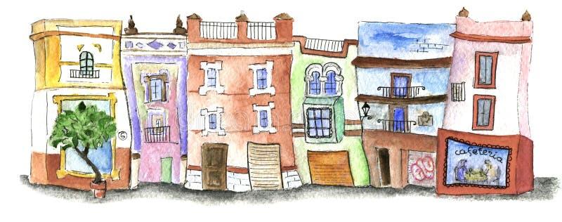 Akwarela domy w centrum Seville ilustracji