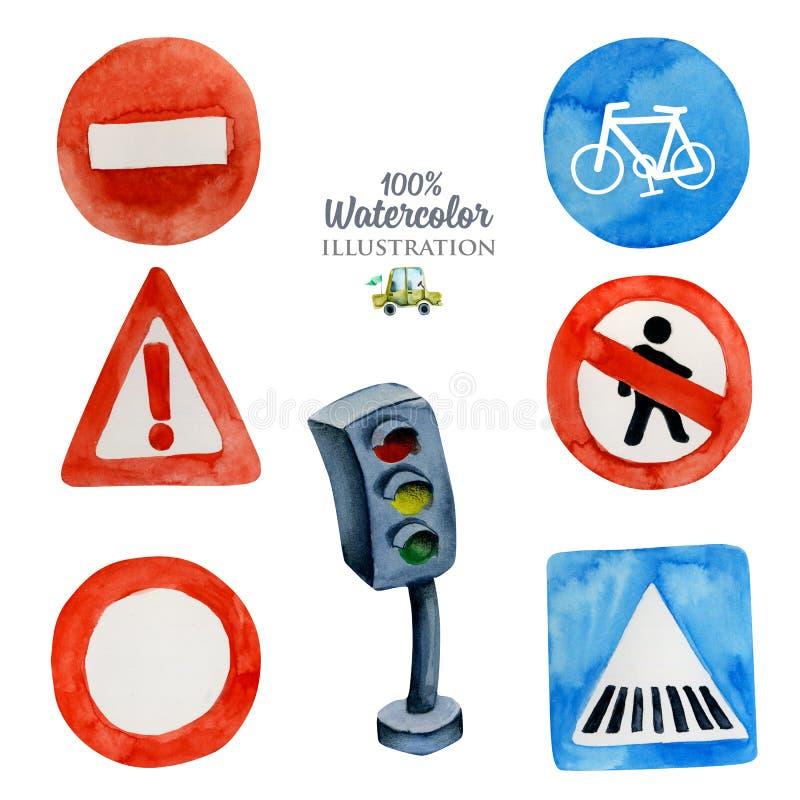 Akwarela drogowi znaki i światła ruchu kolekcja, ilustracja dla dzieciaków ilustracji